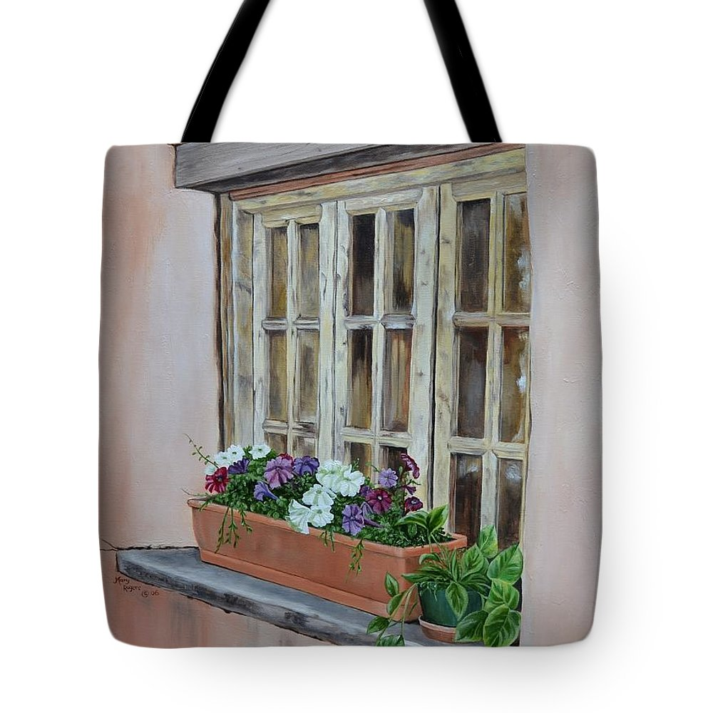 Adobe Tote Bag featuring the painting Elayne Look Through The Window by Mary Rogers