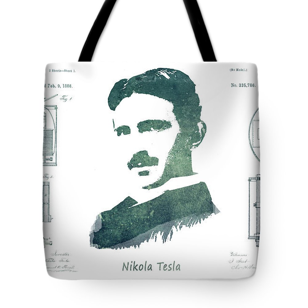 Electric Arc Lamp Tote Bag featuring the digital art Electric Arc Lamp Patent Art Nikola Tesla by Justyna JBJart