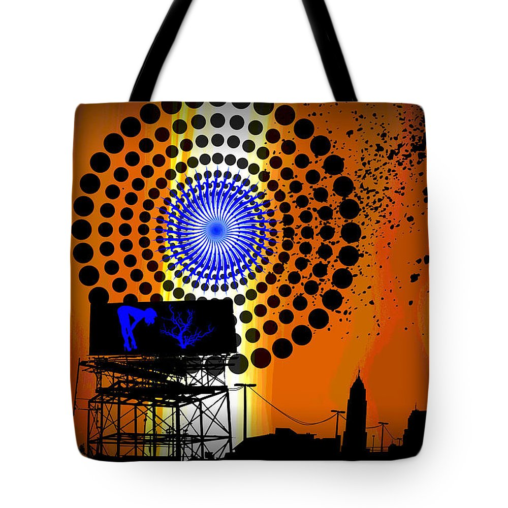 Electric Tote Bag featuring the digital art Electric Avenue by Michael Damiani