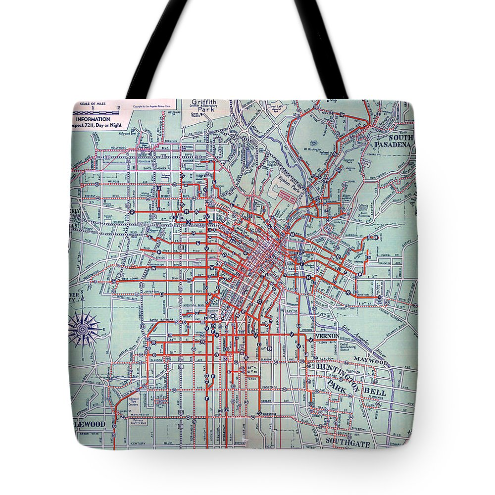 Electric Car And Bus Routes In L.a. (1934) Tote Bag featuring the drawing Electric Car And Bus Routes In La by MotionAge Designs
