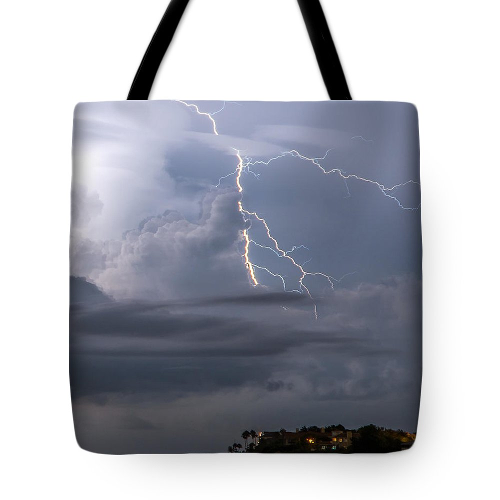 Strike Tote Bag featuring the photograph Electric Cloud by Stephen Whalen