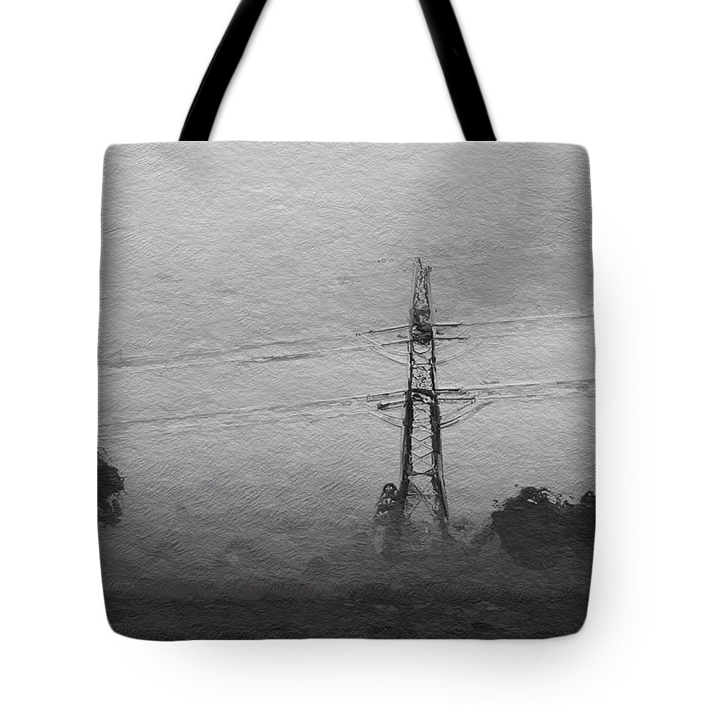 Power Electric Nature Landscape Tree Bw Grey Expressionism Tote Bag featuring the painting Electric by Steve K