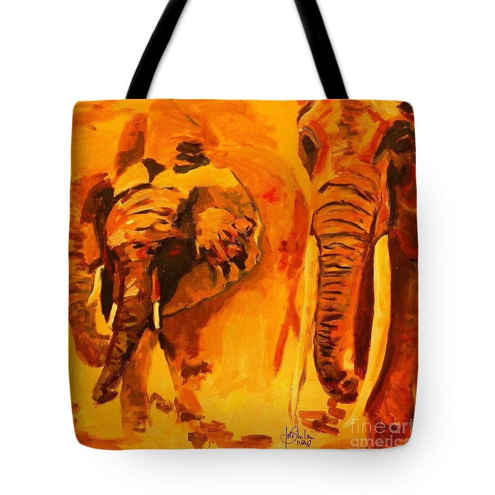 Elefant Tote Bag featuring the painting Elephants by Jolanta Shiloni
