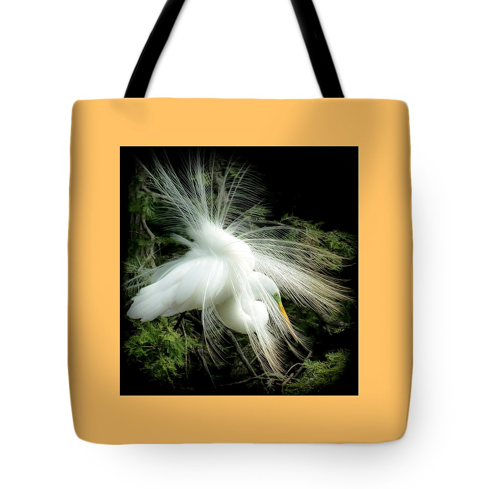 White Egret Tote Bag featuring the photograph Elegance Of Creation by Karen Wiles