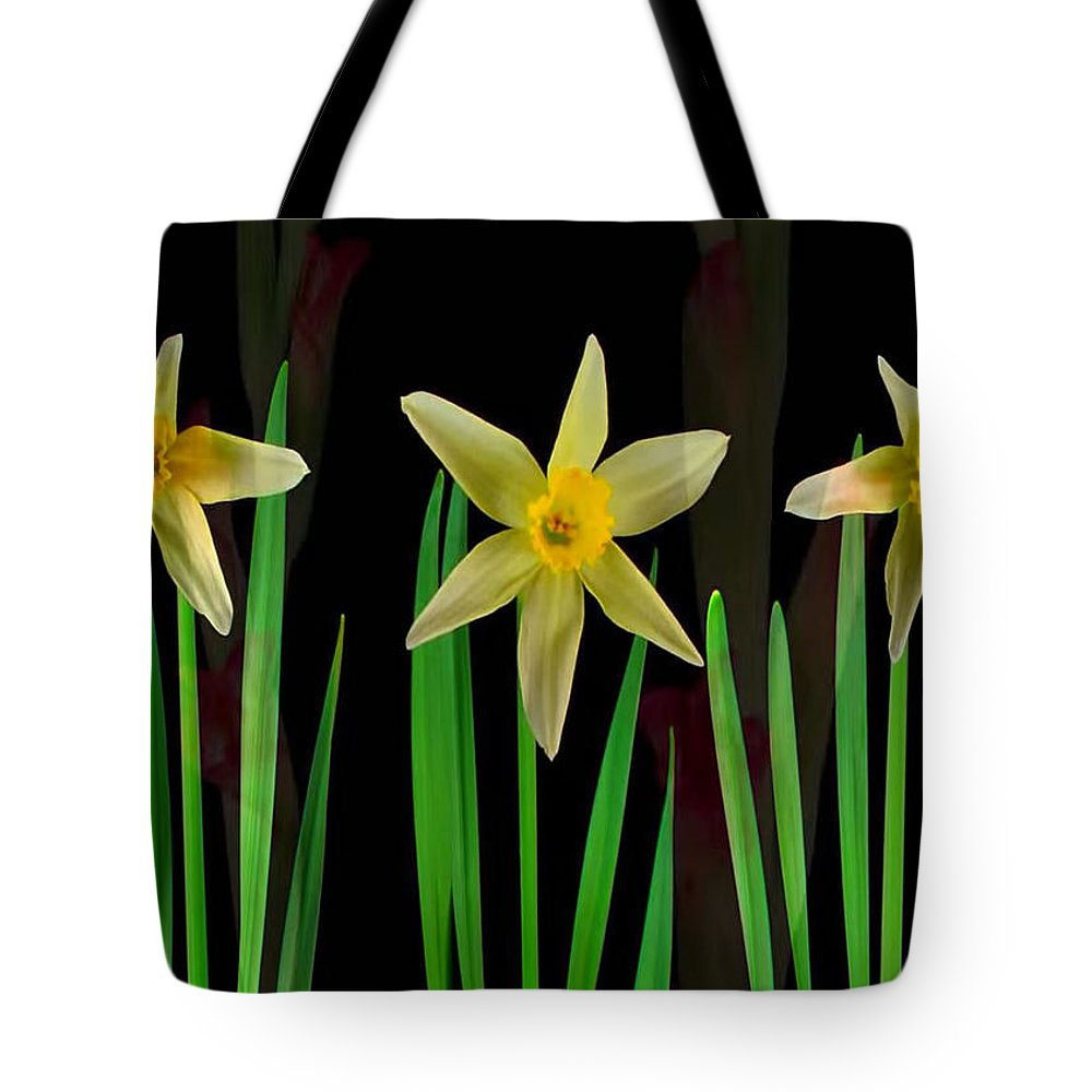 Sensual Tote Bag featuring the mixed media Elegant Yellow Flowers On Green Shoots by Navin Joshi