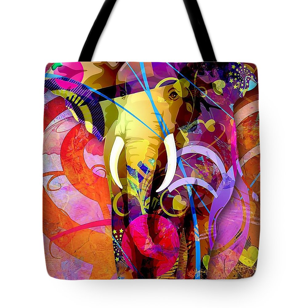 Elephant Tote Bag featuring the digital art Elephant 007 - Marucii by Marek Lutek
