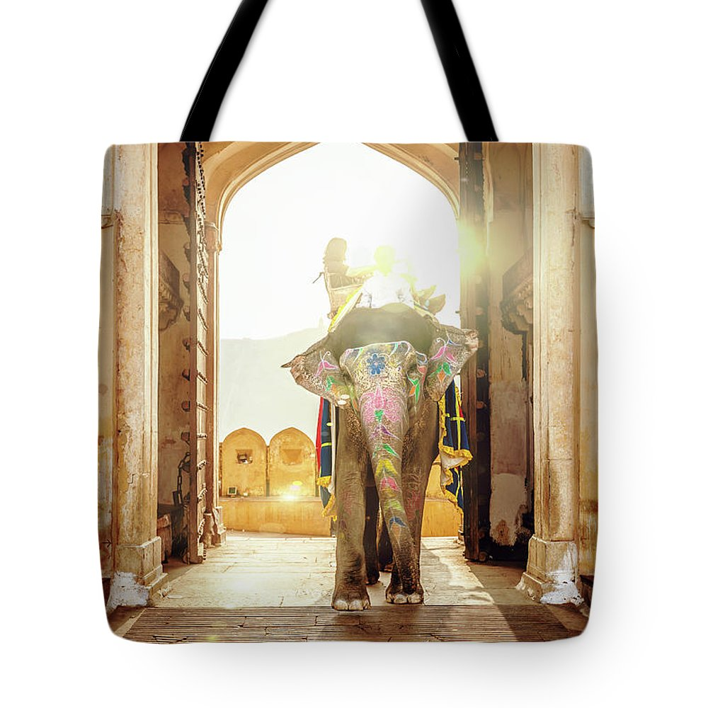 Working Animal Tote Bag featuring the photograph Elephant At Amber Palace Jaipur,india by Mlenny