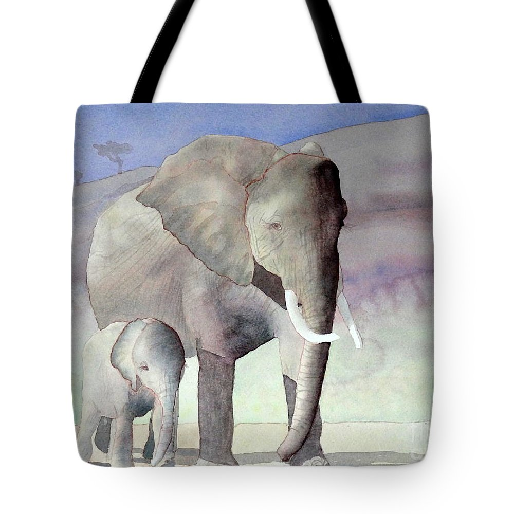 Landscape Tote Bag featuring the painting Elephant Family by Laurel Best