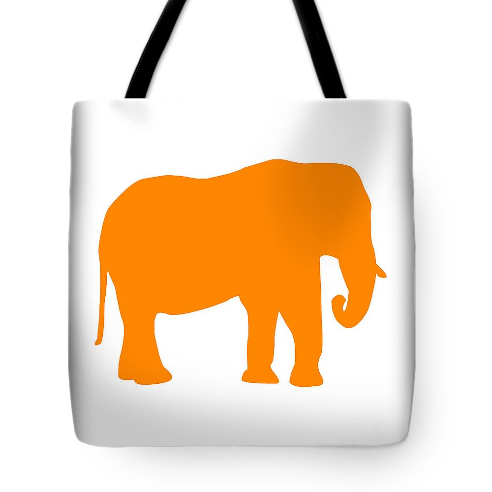 Graphic Art Tote Bag featuring the digital art Elephant In Orange And White by Jackie Farnsworth