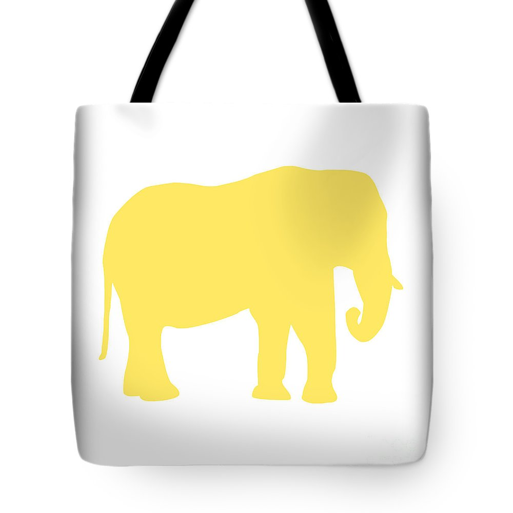 Graphic Art Tote Bag featuring the digital art Elephant In Yellow And White by Jackie Farnsworth
