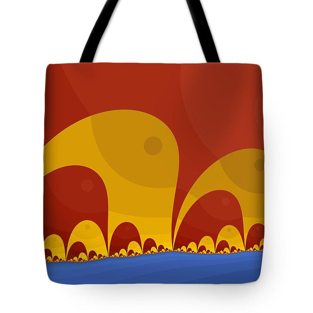 Fractal Tote Bag featuring the digital art Elephant Lake by Mark Greenberg