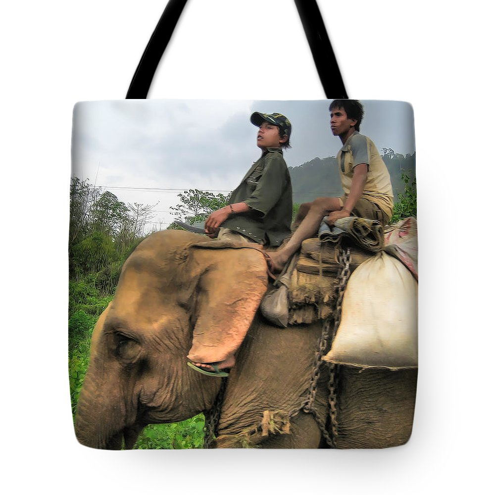 2007 Tote Bag featuring the photograph Elephant Rides by James Wheeler