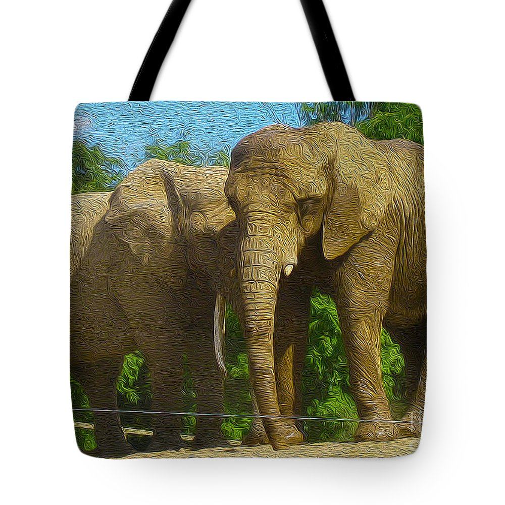 Elephant Tote Bag featuring the photograph Elephant Snuggle by Nina Silver