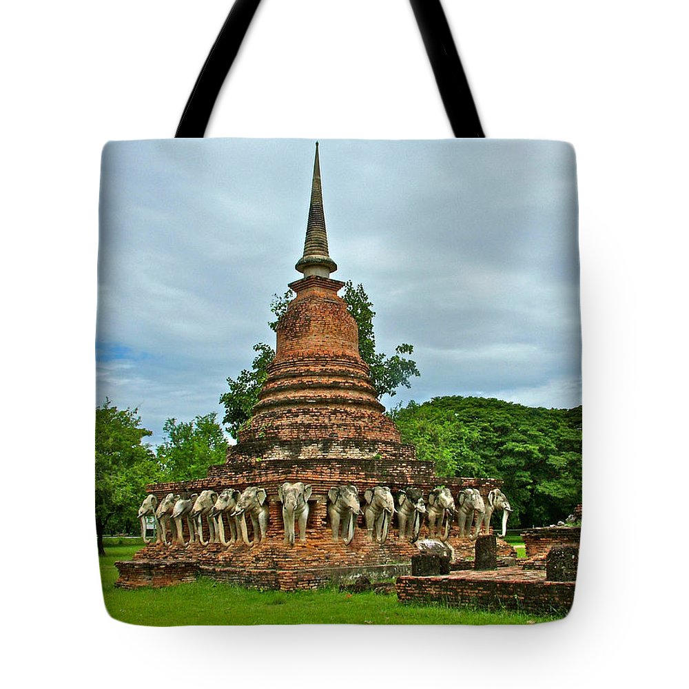 Elephant Stupa At Wat Sarasak At 13th Century Sukhothai Historical Park Tote Bag featuring the photograph Elephant Stupa At Wat Sarasak In Sukhothai Historical Park-thailand by Ruth Hager