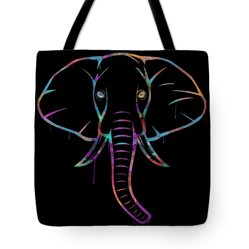 Elephant Tote Bag featuring the digital art Elephant Watercolors - Black by Becca Buecher