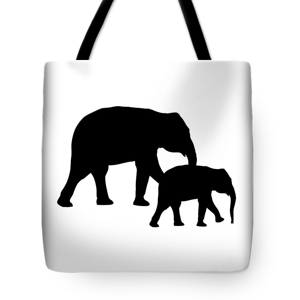 Graphic Art Tote Bag featuring the digital art Elephants In Black And White by Jackie Farnsworth