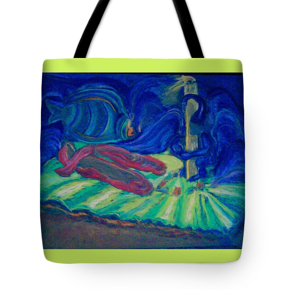 Surreal Tote Bag featuring the pastel Elf And His Magical Slippers by Suzanne Berthier