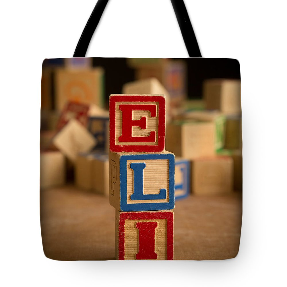 Alphabet Tote Bag featuring the photograph Eli - Alphabet Blocks by Edward Fielding