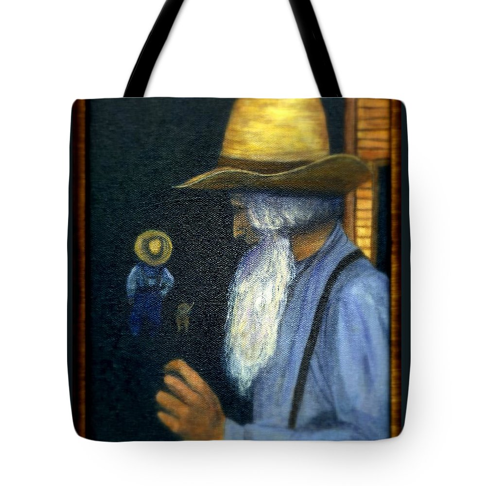Men Tote Bag featuring the painting Eli Remembers by Gail Kirtz