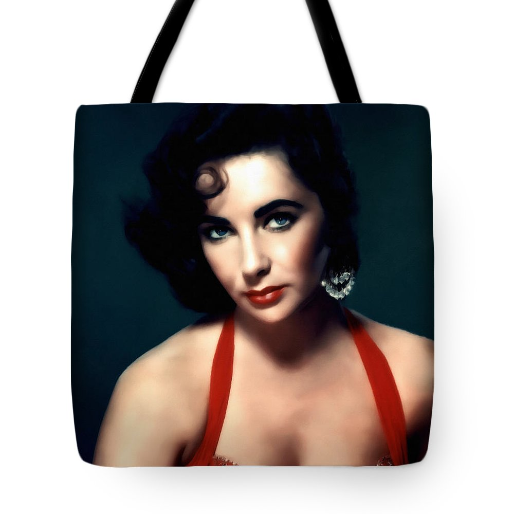 Impressionism Tote Bag featuring the mixed media Elizabeth Taylor by Georgiana Romanovna