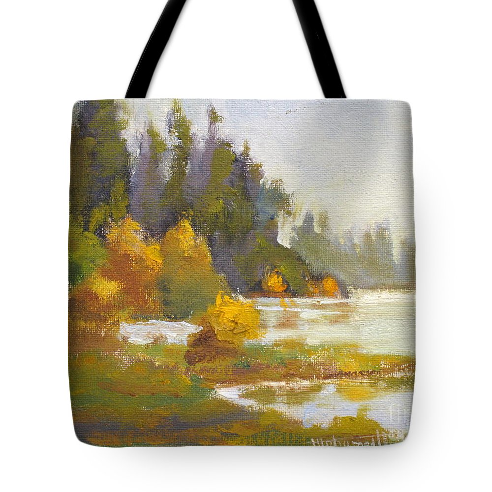 Fall Tote Bag featuring the painting Elk Island 3 by Mohamed Hirji