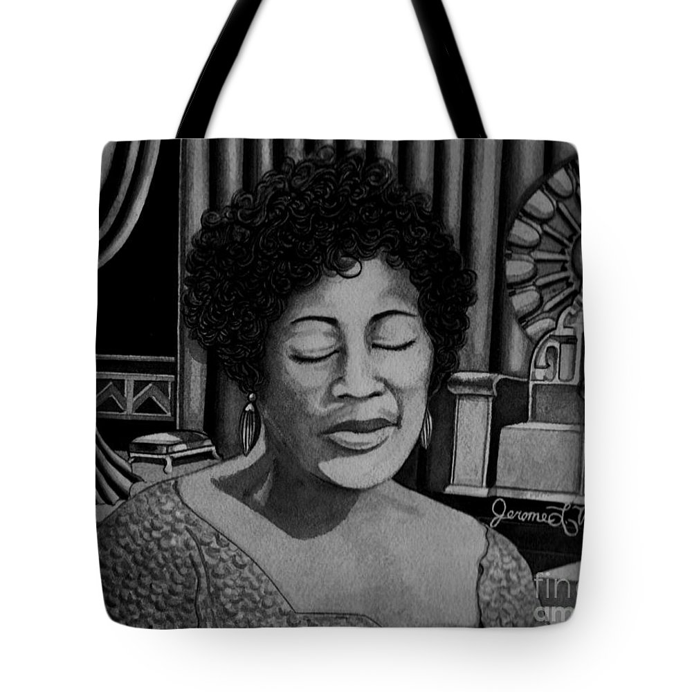 Vocals Tote Bag featuring the painting Ella Fitzgerald by JL Vaden