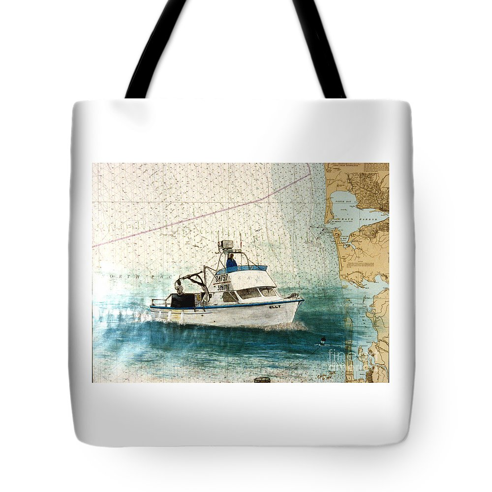 Elly Tote Bag featuring the painting Elly Crab Fishing Boat Nautical Chart Map Art by Cathy Peek