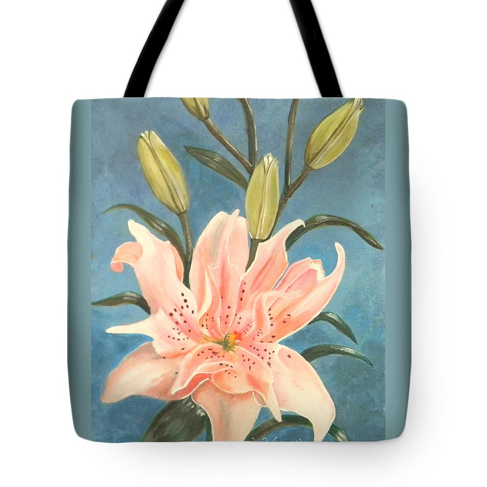 Elodie Lily Tote Bag featuring the painting Elodie Lily by Laura Wilson
