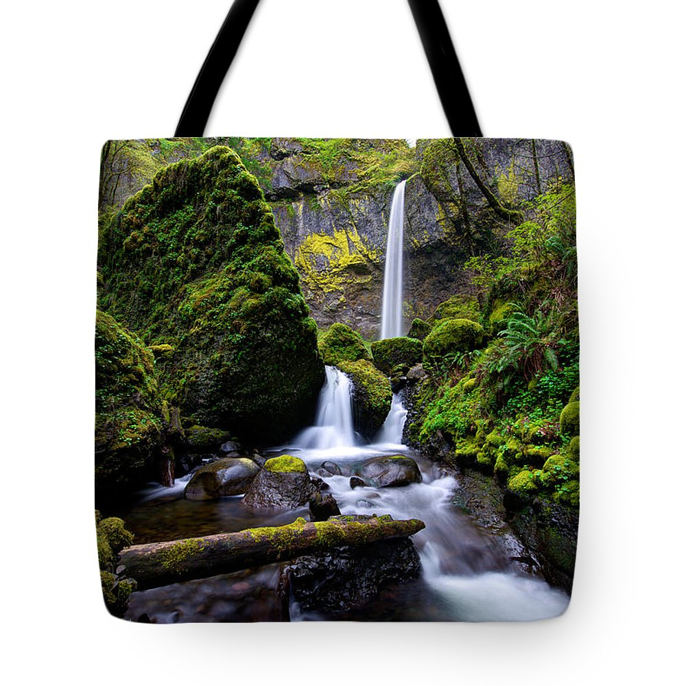 Waterfall Tote Bag featuring the photograph Elowah Falls by Dustin LeFevre