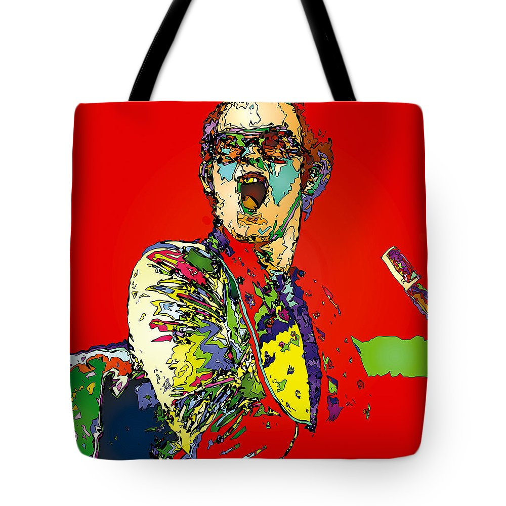 Elton John Tote Bag featuring the painting Elton in Red by John Farr