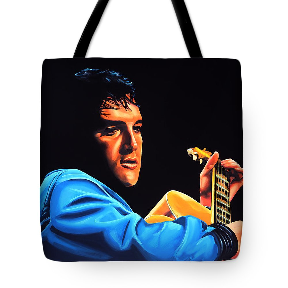 Elvis Tote Bag featuring the painting Elvis Presley 2 Painting by Paul Meijering
