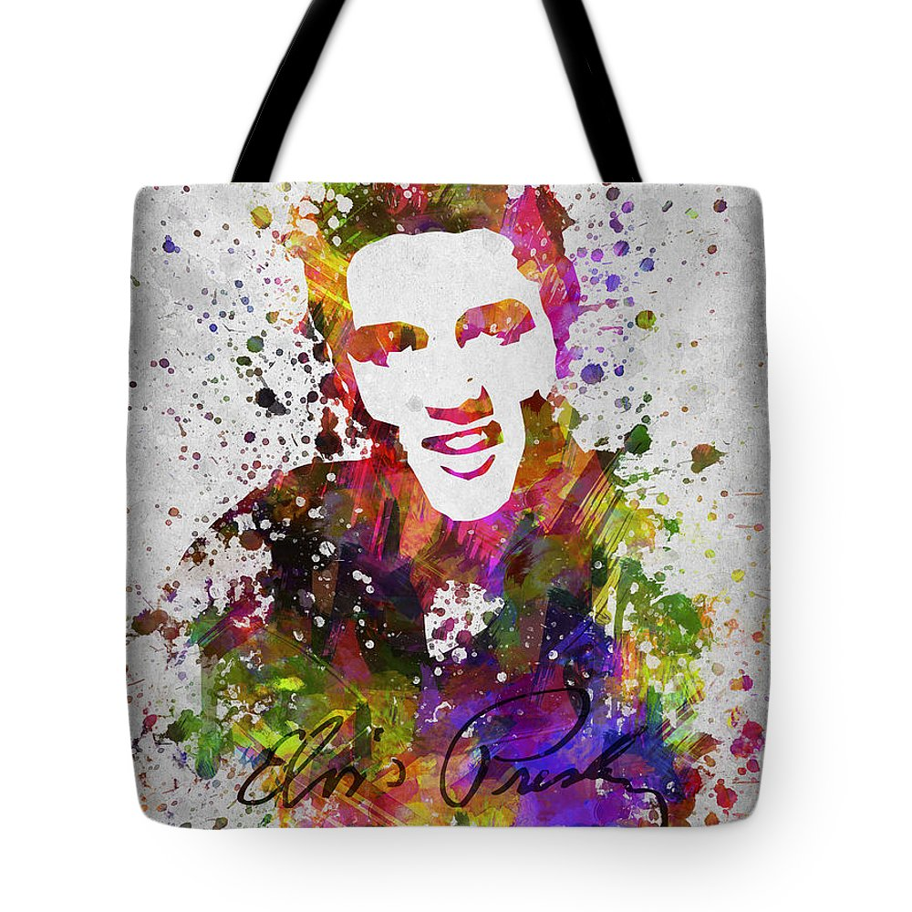 Elvis Presley Tote Bag featuring the digital art Elvis Presley in Color by Aged Pixel