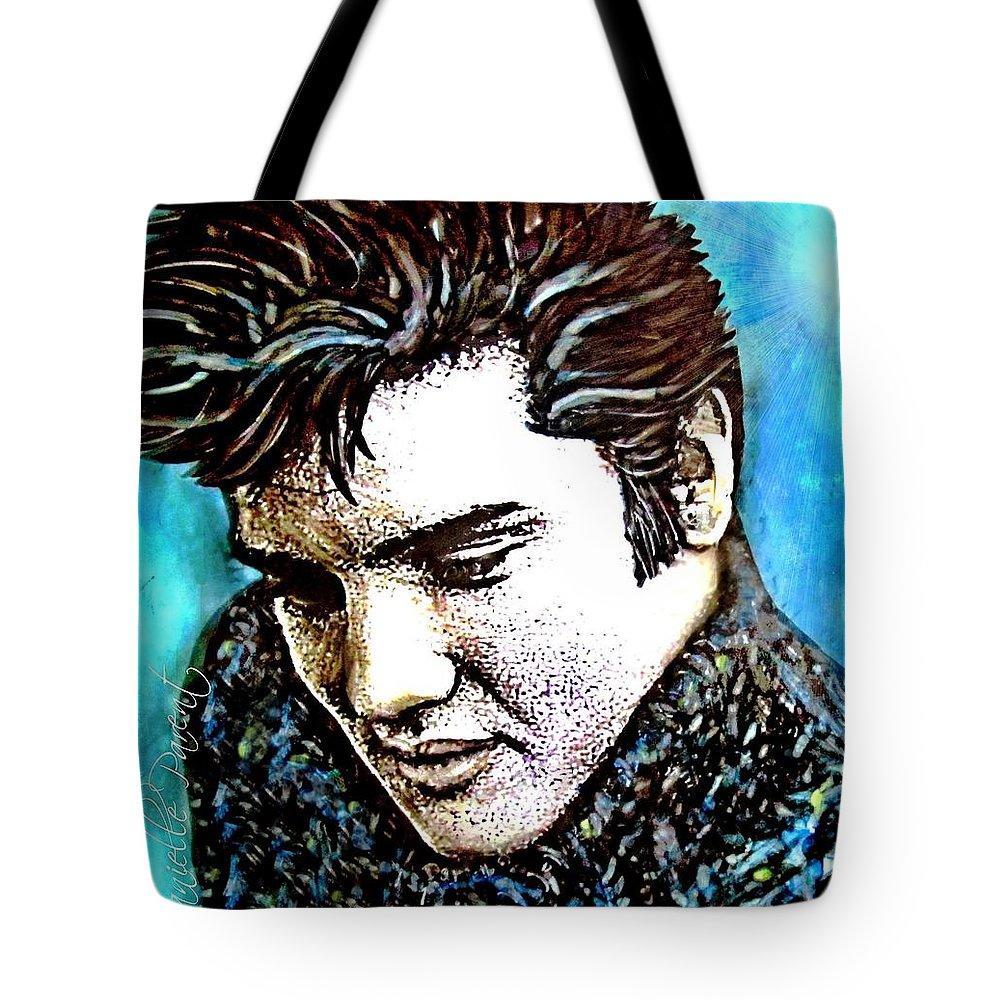 Danielle Parent Tote Bag featuring the painting Elvis Presley Never Left The Building Alcohol Inks by Danielle Parent