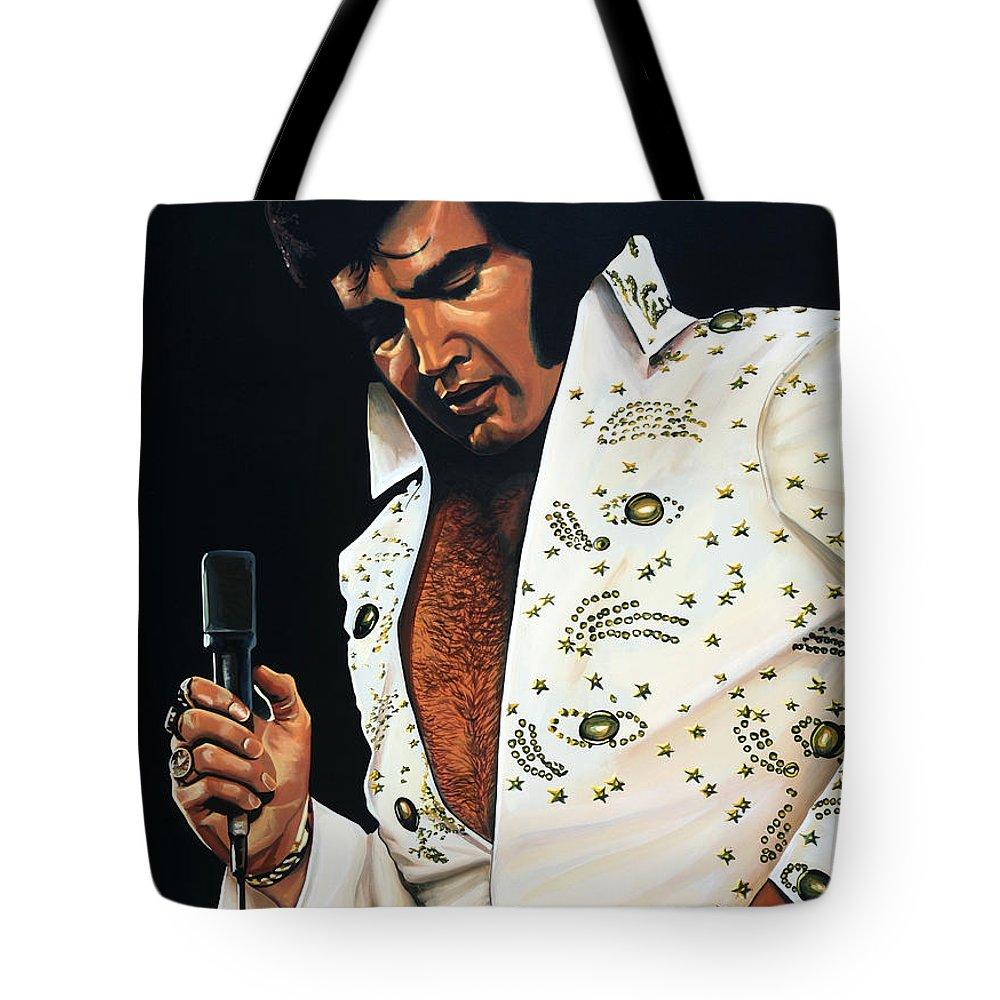 Elvis Tote Bag featuring the painting Elvis Presley Painting by Paul Meijering