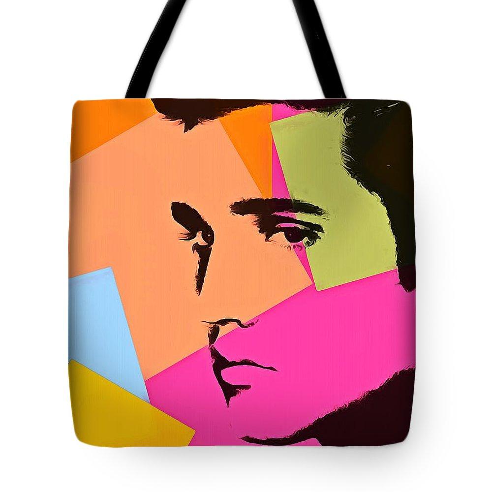 Elvis Presley Pop Art Tote Bag featuring the digital art Elvis Presley Pop Art by Dan Sproul