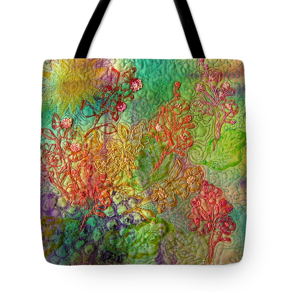 Abstract Flowers Tote Bag featuring the mixed media Embellished Flowers by Genie Morgan