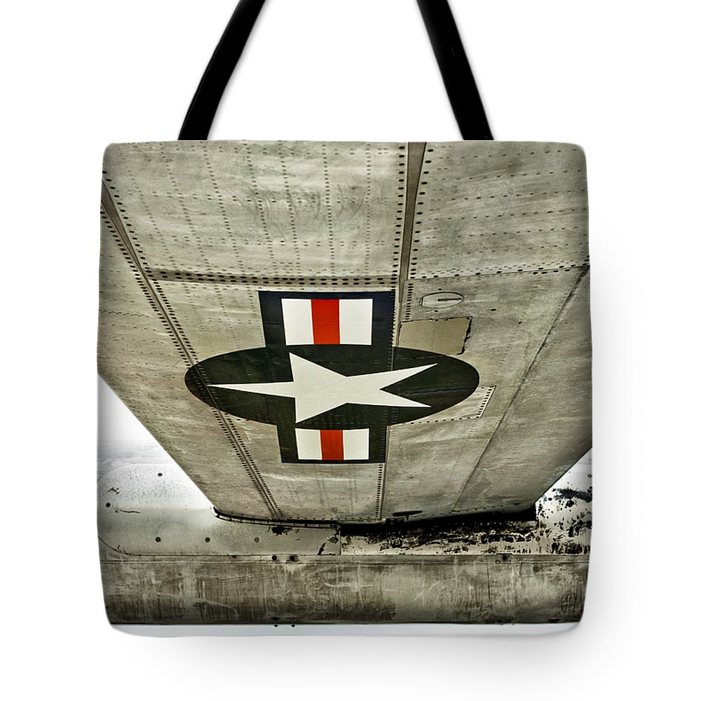 Air Force Tote Bag featuring the photograph Emblem Underneath by Christi Kraft