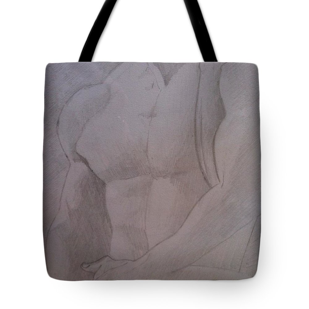 Nudes Tote Bag featuring the drawing Embrace by Michelle Deyna-Hayward