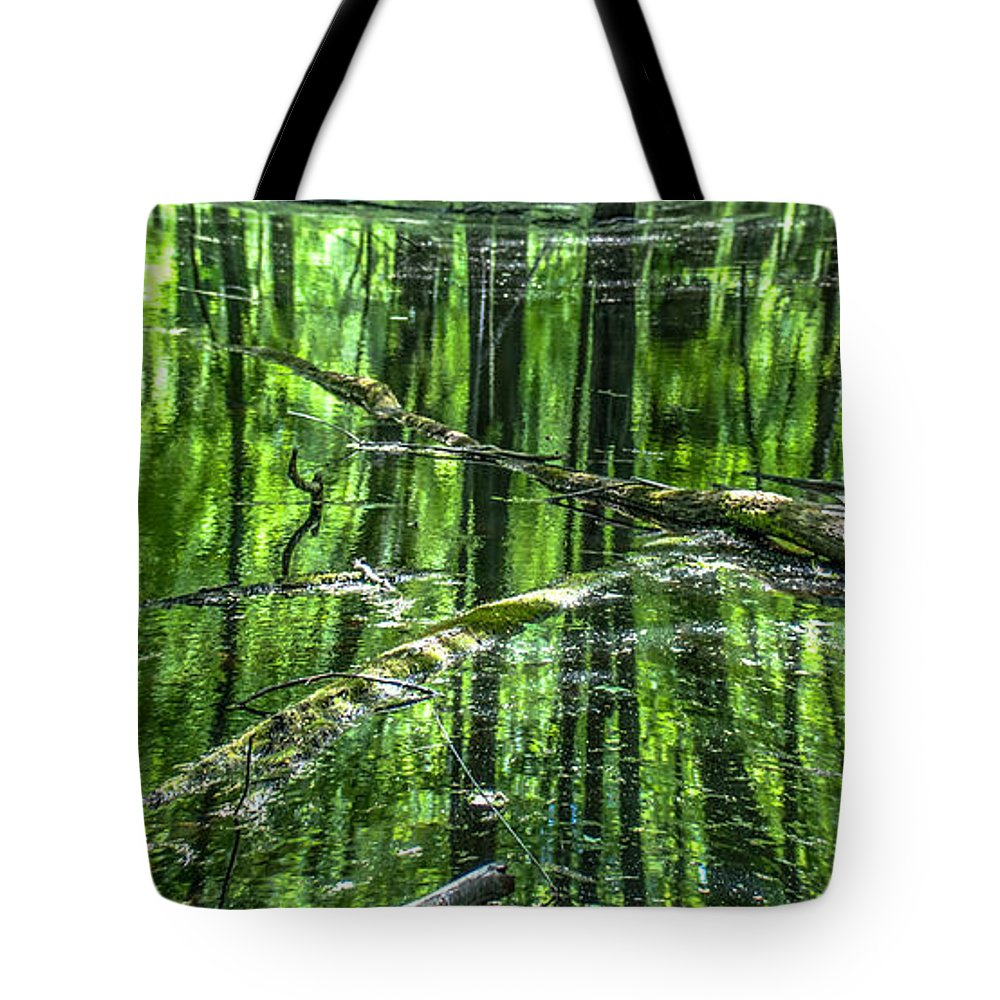 Opticalplaygroundbympray Tote Bag featuring the photograph Emerald Reflections by Optical Playground By MP Ray