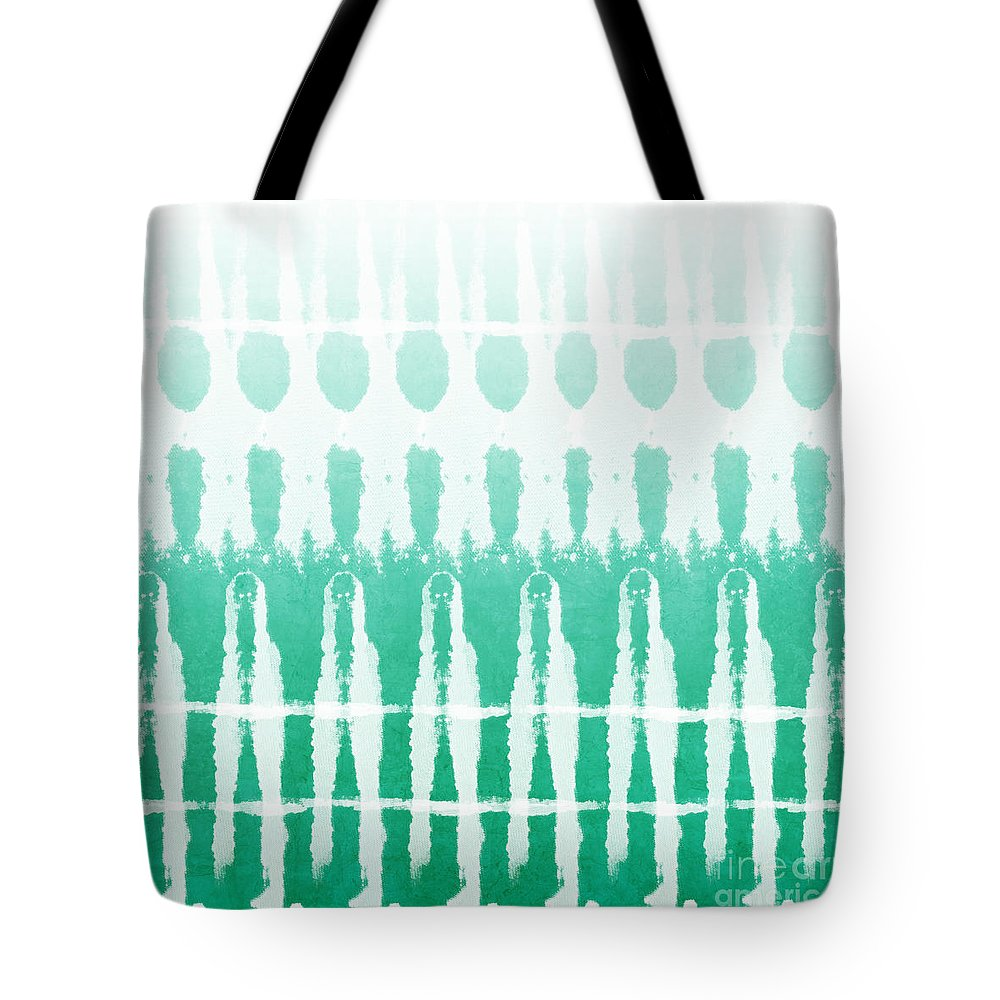 Abstract Tote Bag featuring the painting Emerald Ombre by Linda Woods