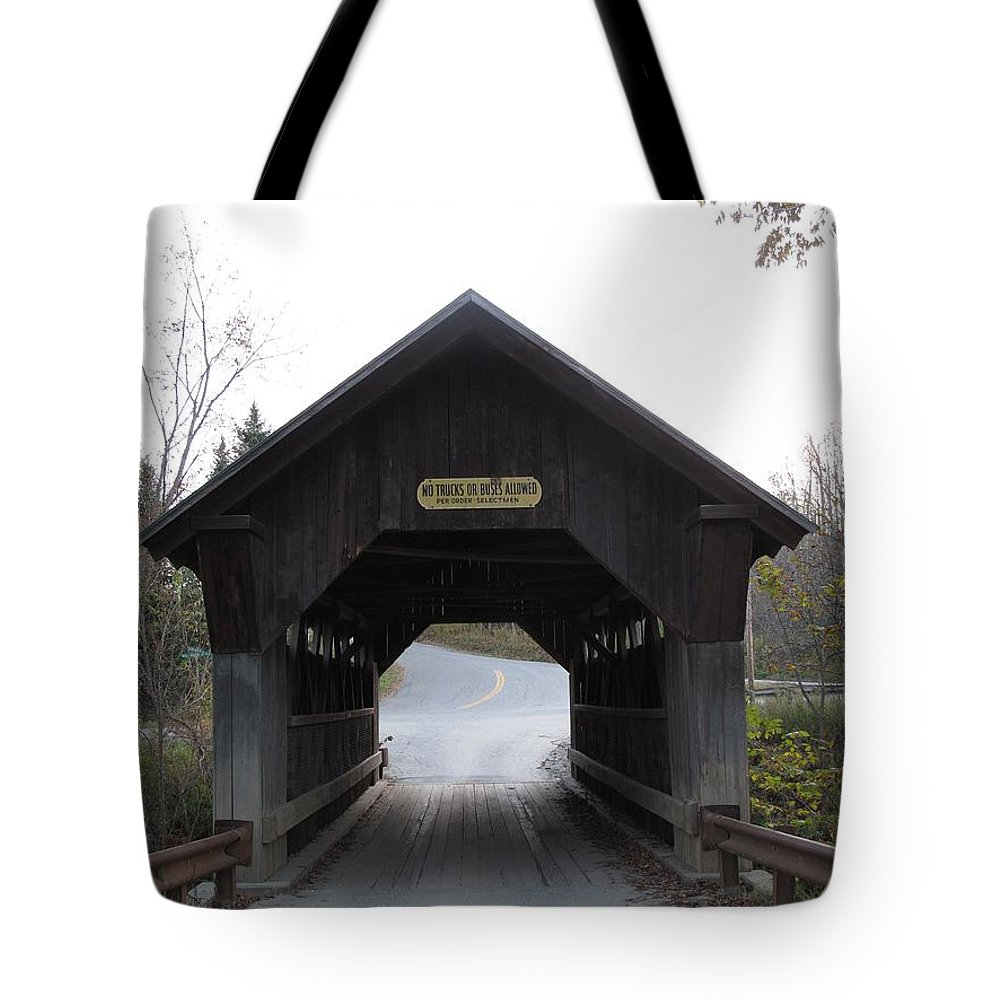 Covered Bridge Tote Bag featuring the photograph Emily's Bridge Stowe Vermont by Barbara McDevitt