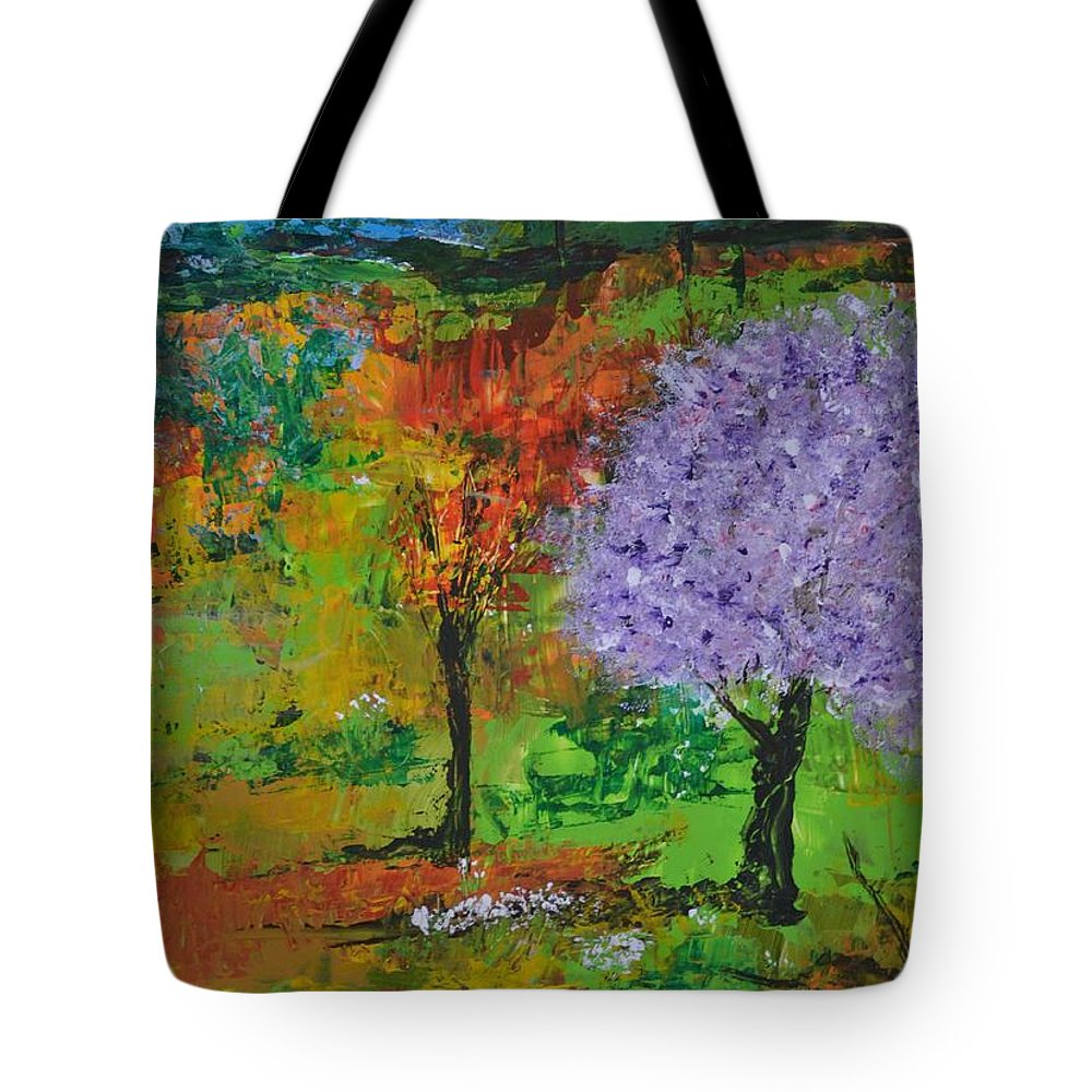 Landscape Tote Bag featuring the painting Emmet's Garden by Om Art Studio Dean Walther