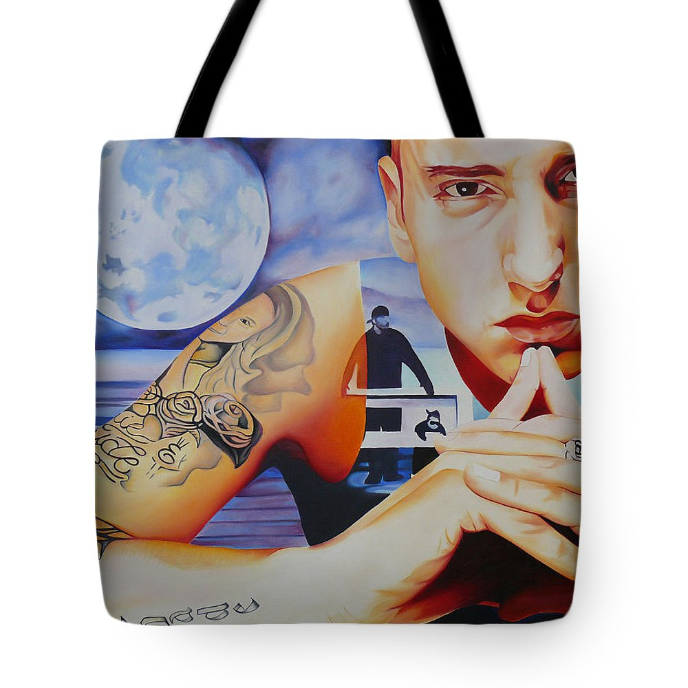 Eminem Tote Bag featuring the painting Eminem by Joshua Morton