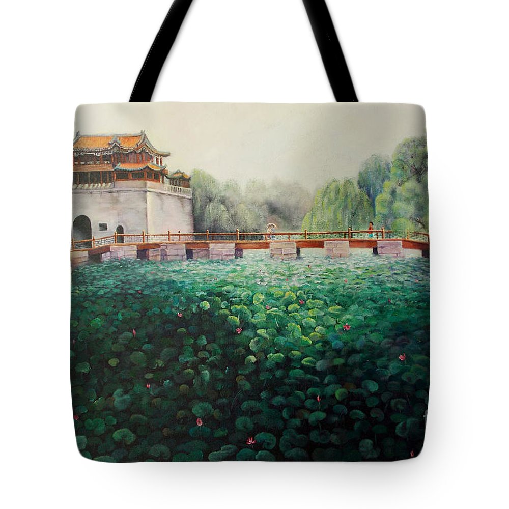 Landscape Tote Bag featuring the painting Emperor's Summer Palace by Marlene Book