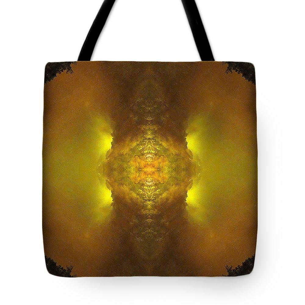 Kaleidoscopic-artwork-in-golden-atmosphere Tote Bag featuring the digital art Empire Quake by Richard Jones
