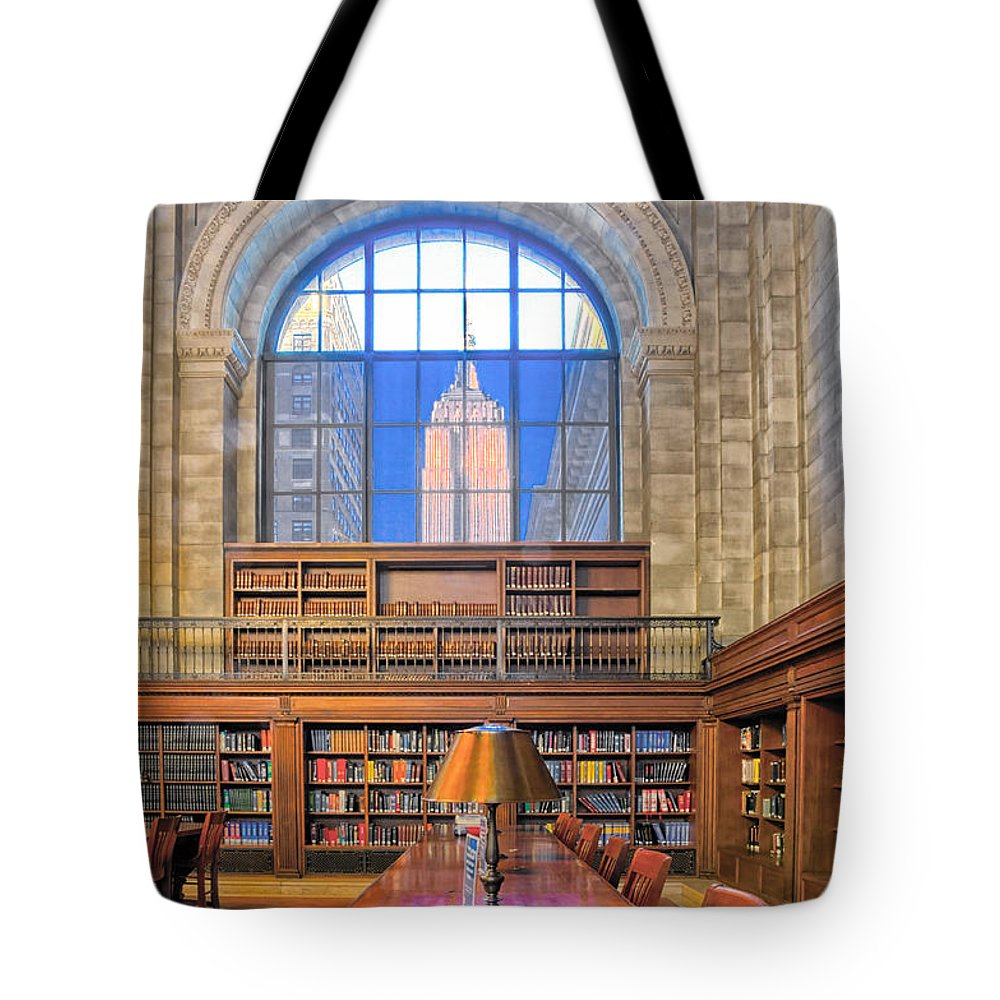 Empire State Building Tote Bag featuring the photograph Empire State Building At The New York Public Library by Dave Mills