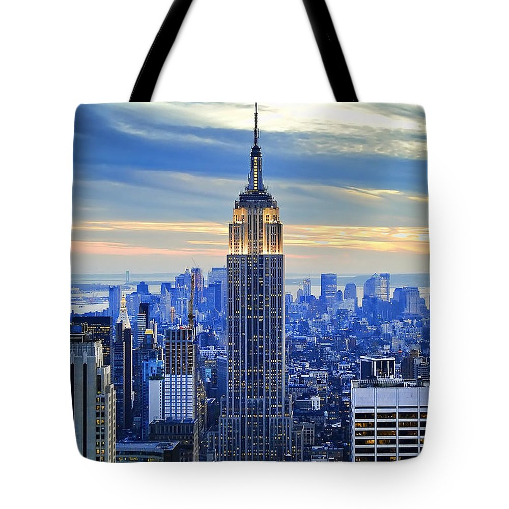 New York City Tote Bag featuring the photograph Empire State Building New York City USA by Sabine Jacobs