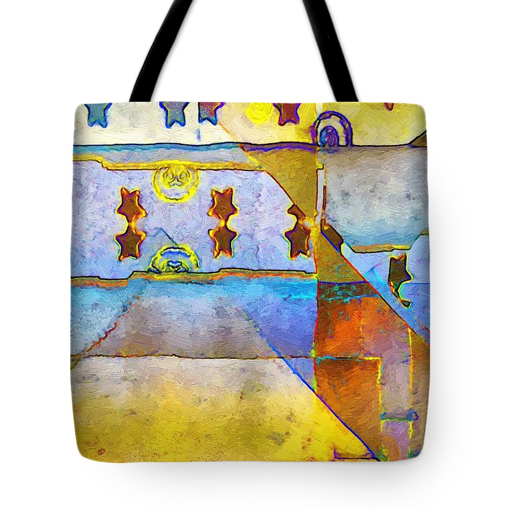 Abstract Tote Bag featuring the painting Empty Stage by RC DeWinter