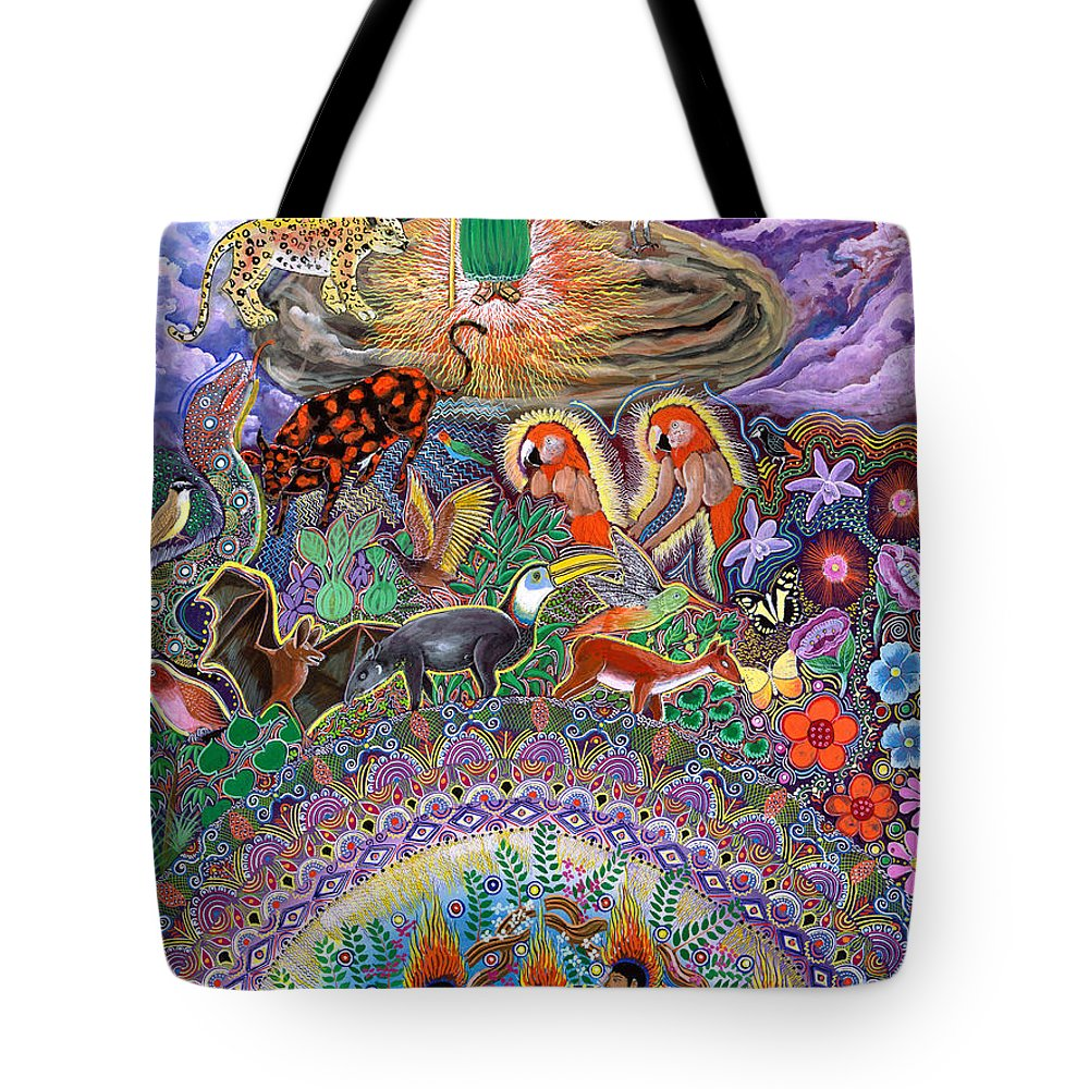 Pablo Amaringo Tote Bag featuring the painting Encanto Rumi by Pablo Amaringo