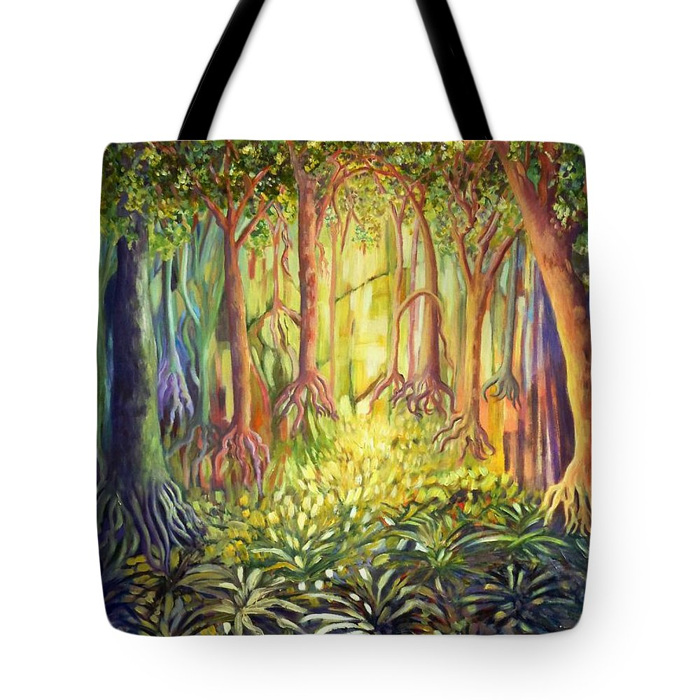 Forests Tote Bag featuring the painting Enchanted Forest by Caroline Street